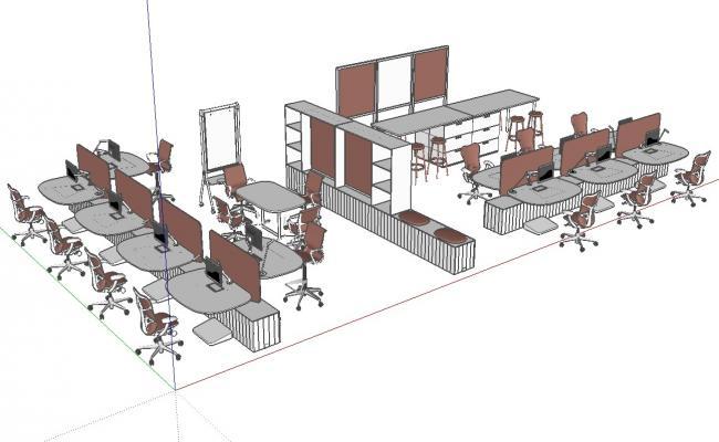 3d Office Furniture Blocks Isometric View SKP File