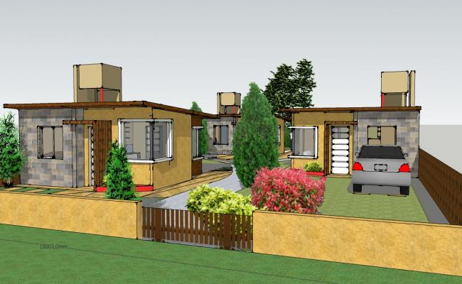 3d Residence House plan sketch up file