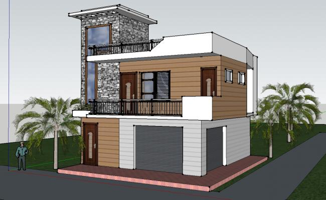 3d Residential Building SKP File