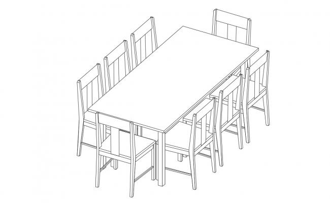 3d Wooden Dining Table Set CAD Drawing