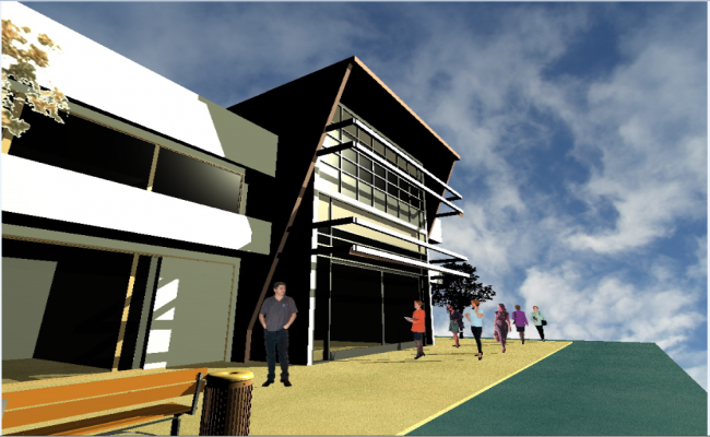 3d Front Elevation Images : D design front entrance view of office building details