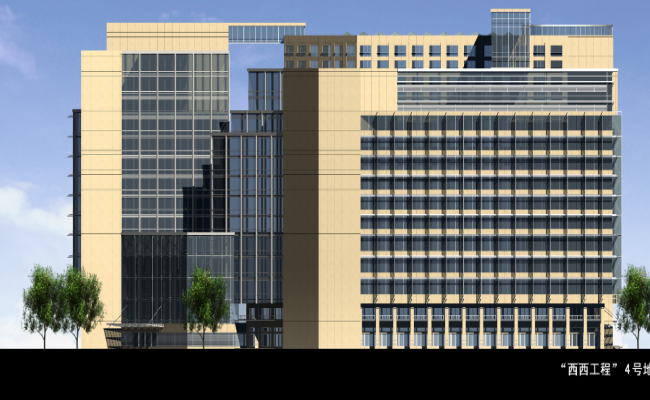 3d design of back view of multi-level corporate building dwg file