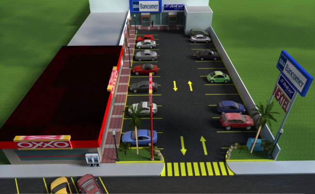 3d design of car parking lot of shopping center complex dwg file