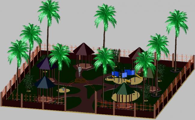 3d design of children playground landscaping dwg file