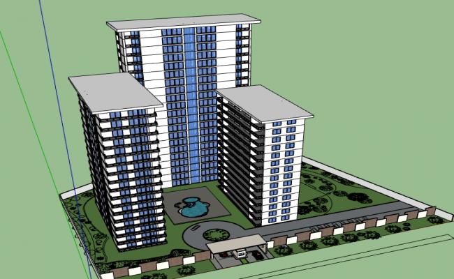 3d design of corporate building dwg file