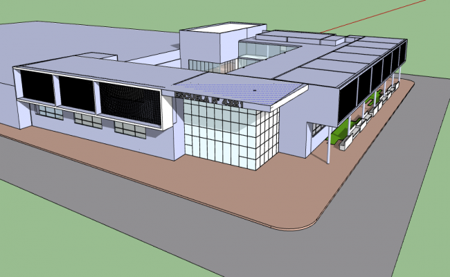 3d design of corporate building elementary model dwg file