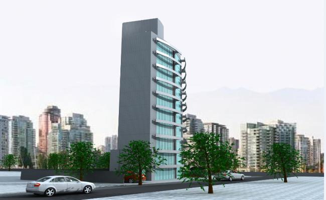 3d design of corporate office building dwg file