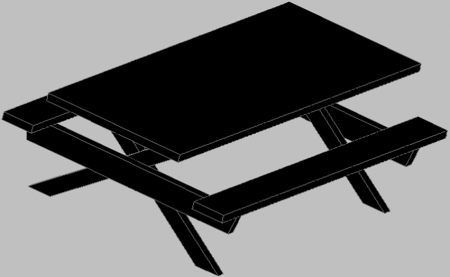 3d design of dining table of garden area dwg file