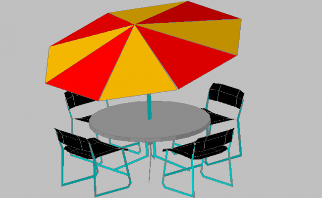 3d design of dining table with umbrella dwg file