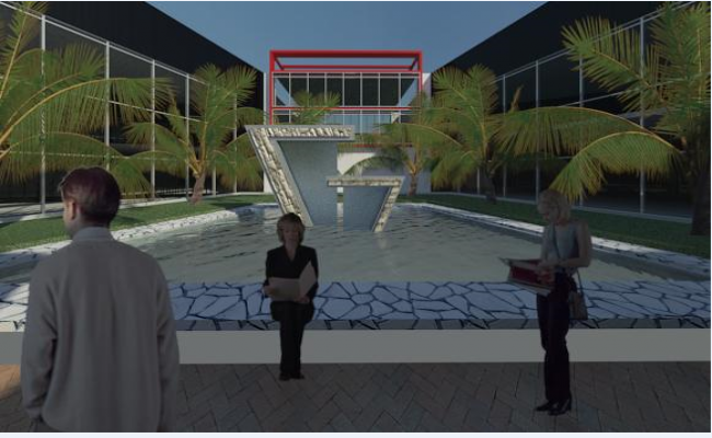 3d design of entrance of shopping mall dwg file