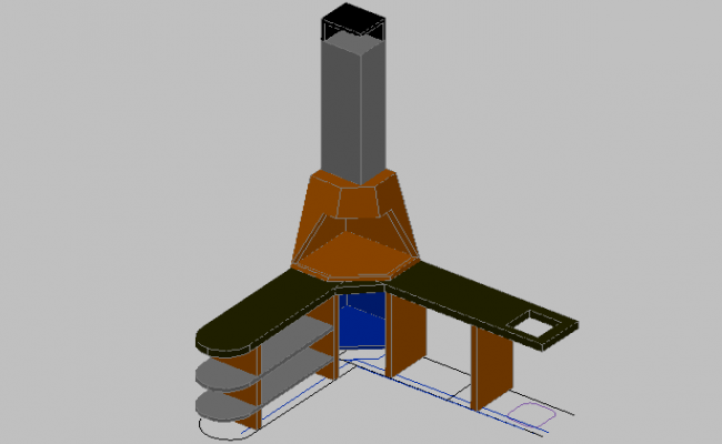 3d design of fireplace and barbecue details dwg file