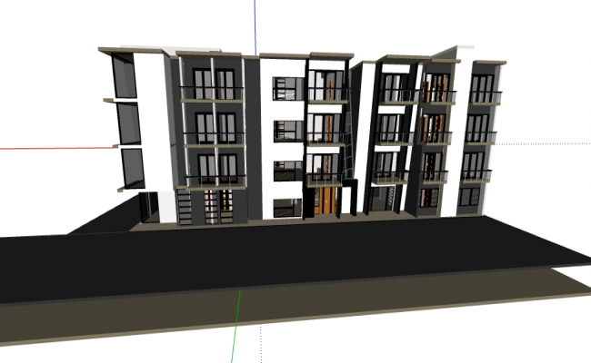 3d design of five levels multi-family residential building dwg file