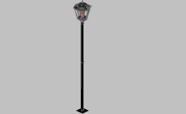 3d design of foot street light pole external with applied materials dwg file