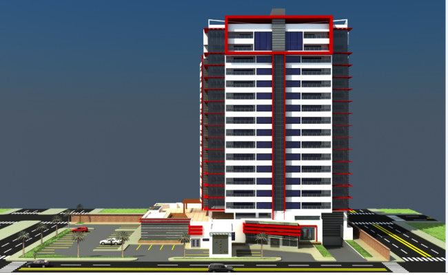 3d design of front elevation view of corporate building dwg file