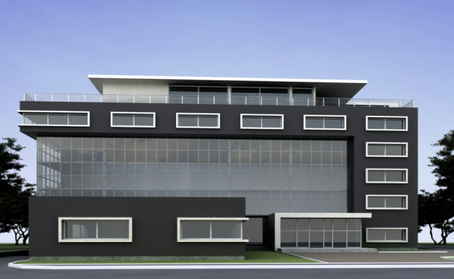 Office Building Front Elevation : D design of front elevation view corporate office