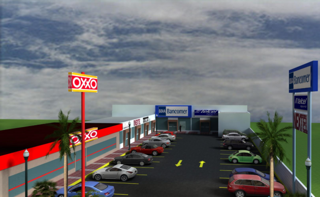 3d design of front top view of parking of shopping center dwg file