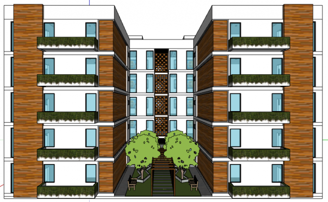 3d design of front view of multi-flooring residential