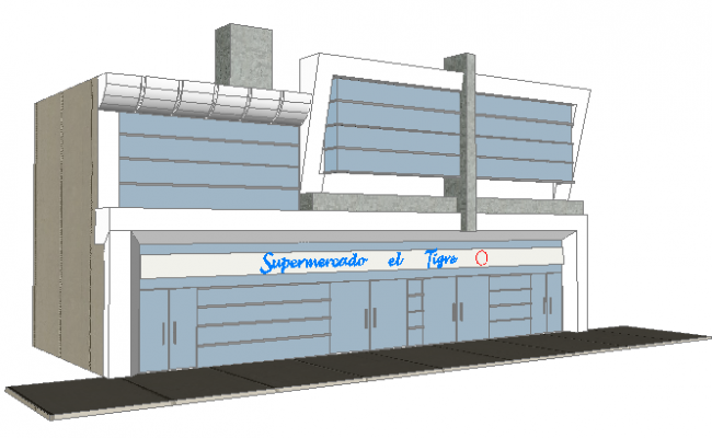 3d design of front view of multi-story super market dwg file