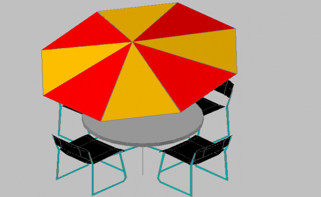 3d design of garden dining table with umbrella dwg file