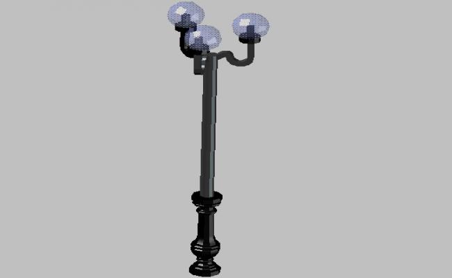 3d design of garden street light pole details dwg file