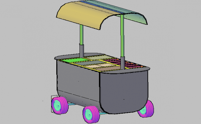 3d design of hot dog car of garden dwg file