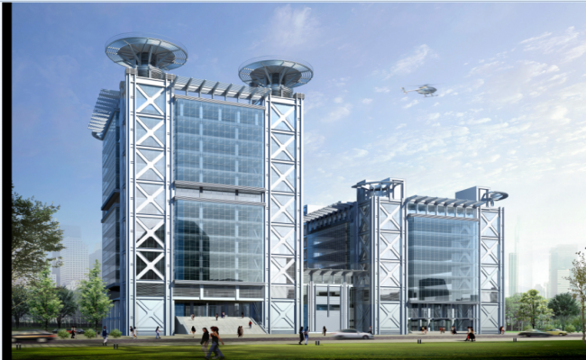 3d design of imb corporate building project dwg file