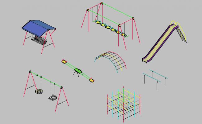 3d design of infantile game equipment blocks details of garden dwg file