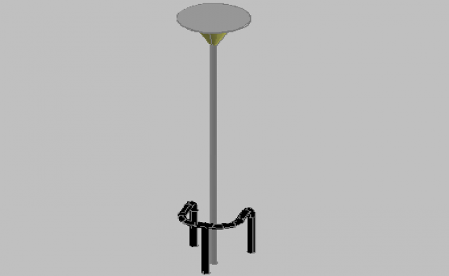 3d design of light pole lamps with metallic structure dwg file