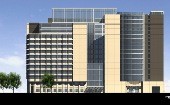 3d design of main elevation view of corporate building dwg file