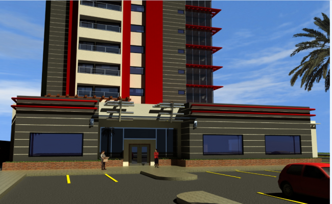 3d design of main entrance gate of multi-story office tower dwg file