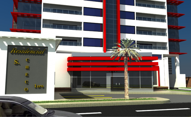3d design of main entrance of multi-level office tower dwg file