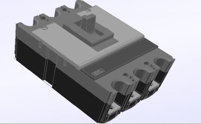 3d design of mcb electric switch dwg file