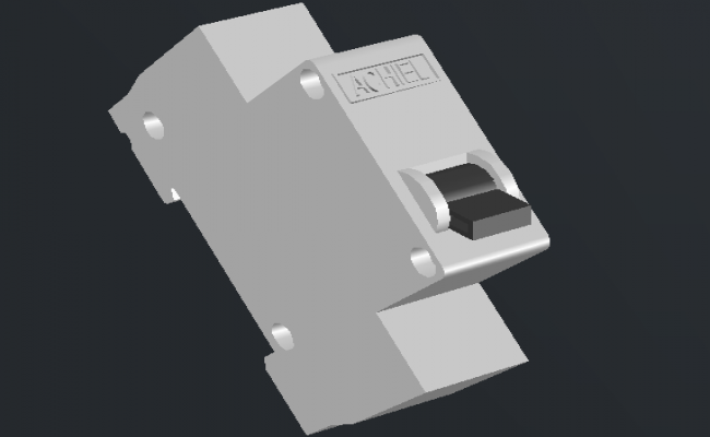 3d design of mcb switch 1p dwg file