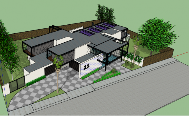 3d design of modern bungalow architecture project dwg file