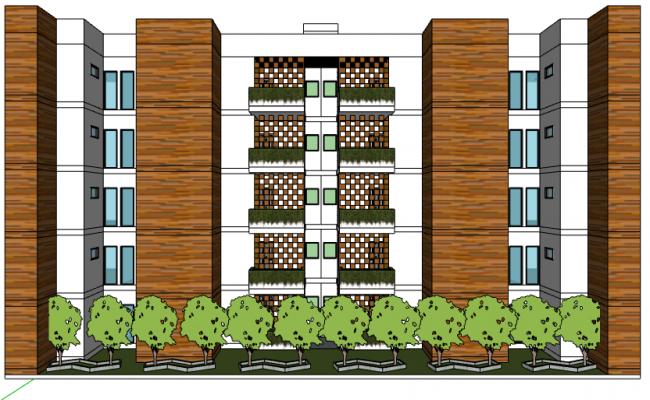 3d design of multi-family residential flats dwg file