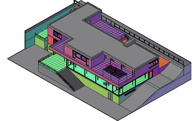 3d design of multi-flooring bungalow dwg file