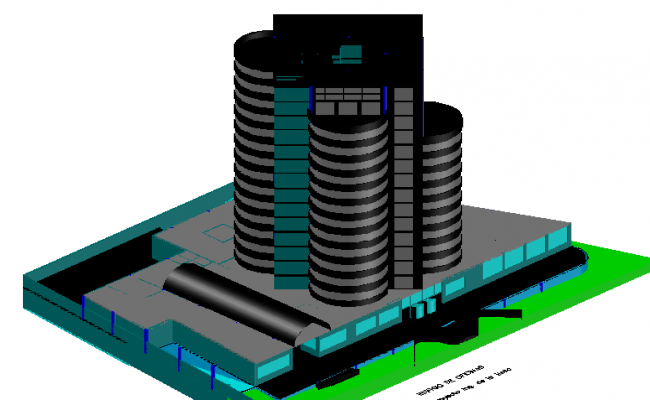 3d design of multi-flooring corporate building dwg file