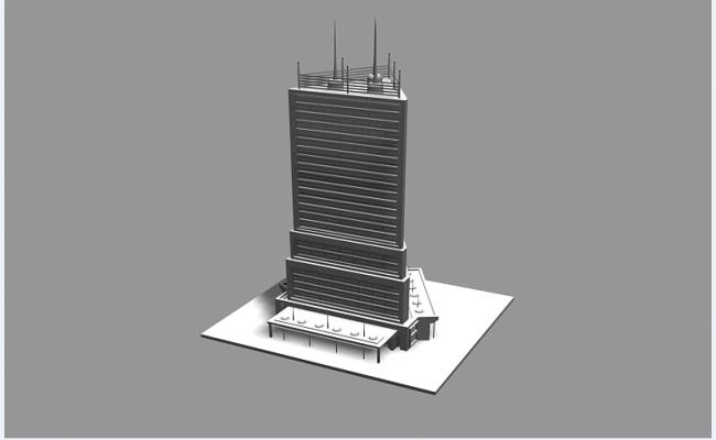 3d design of multi-flooring corporate building dwg file