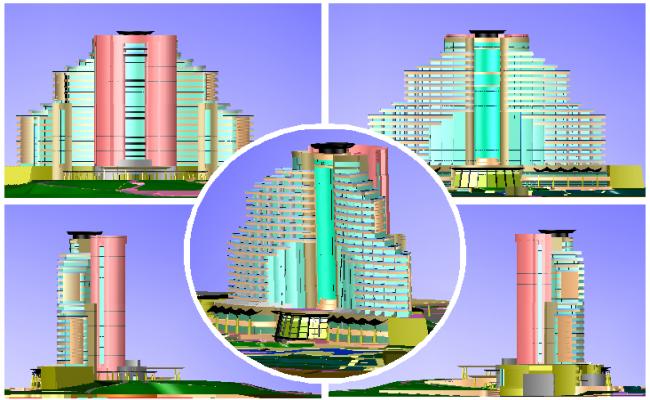 3d design of multi-flooring five star hotel model dwg file