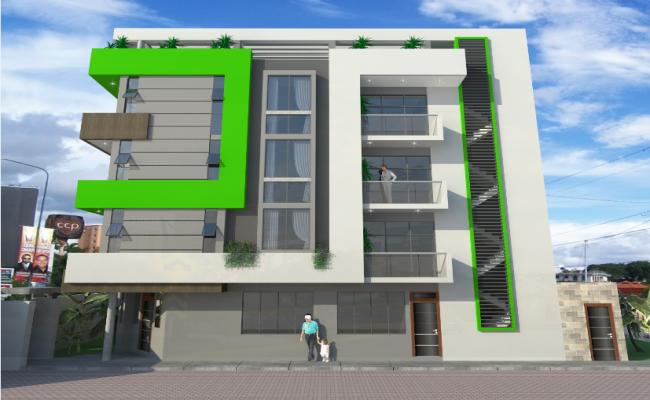 3d design of multi-flooring housing building dwg file
