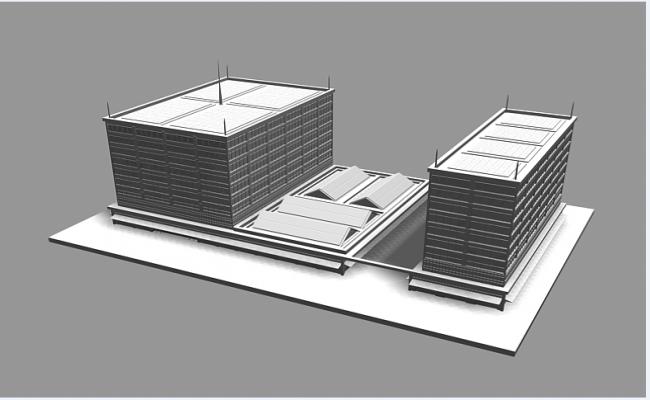 3d design of multi-flooring office building dwg file