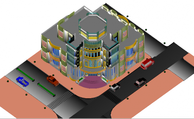 3d design of multi-flooring school view dwg file