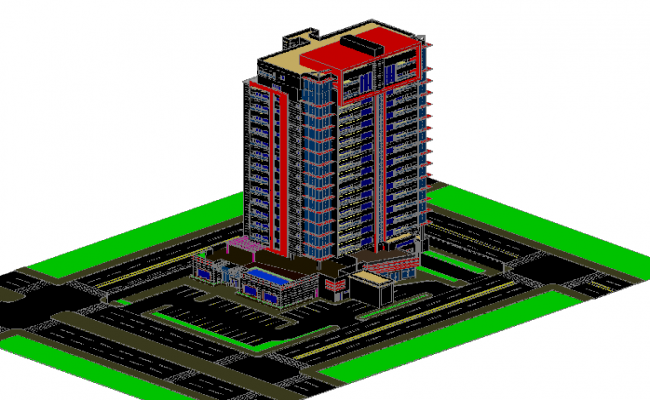 3d design of multi-story administrative building dwg file