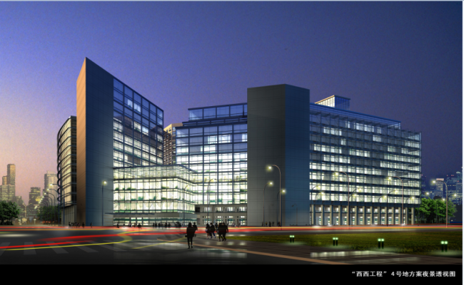 3d design of multi-story corporate building dwg file