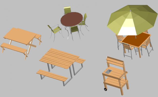 3d design of multiple dining tables for outdoor garden dwg file