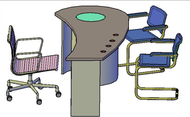 3d design of office desk dwg file