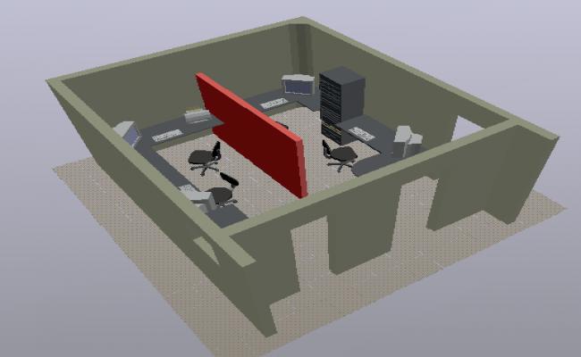 3d design of office module layout plan dwg file