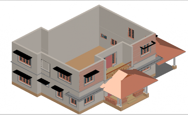 3d design of one family house architecture project dwg file
