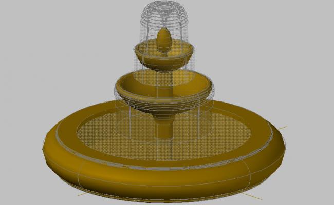 3d design of ornamental fountain of garden dwg file