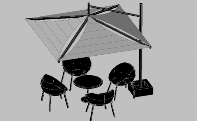 3d design of parasol of outdoor garden dwg file